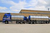 Volvo Tanker Truck Parked Outside Warehouse Building