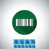 Flat Design Icon Of Barcode - Vector Graphic.