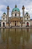 VIENNA, AUSTRIA - SEPTEMBER 26, 2013: Saint Karl Borromey's well-known church in Baroque style. On t