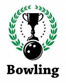 Sport bowling league label with laurel wreath