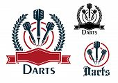 Постер, плакат: Darts sporting emblems or badges