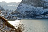 Coastline Of Lake Lac Du Chevril In Winter, France