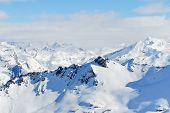 Skiing Tracks On Mountain Slopes In Paradiski Region