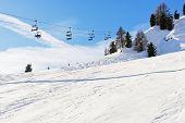 Ski Lift And Slope Of Dolomites Mountains