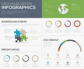 Modern data visualization infographics with jigsaw puzzle pieces