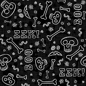 Boo eek Halloween white border letters with skulls bones and worms