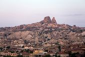 amazing view of Goreme in Cappadocia at sunrise