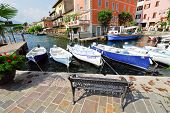 Boats In Town Limone Sul Garda, Lake Garda, Italy