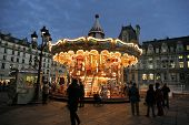 Christmas Night Illumination Of Carousel, Paris
