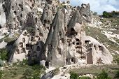 view of Uchisar castle in Cappadocia. Turkey
