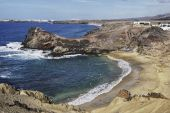 pic of papagayo  - Aerial view of picturesque beach on Gulf of Papagayo Lanzarote Canary Islands Spain - JPG