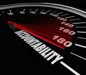 Accountability word on a speedometer finding person responsible for problem, trouble, issue or vehic