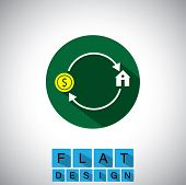 Flat Design Icon Of Buying, Selling House, Property - Vector Graphic