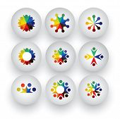 Colorful People, Children, Employees Icons Collection Set - Vector Graphic
