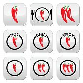 Red hot chili peppers buttons set