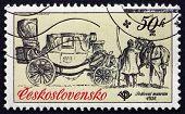 Postage Stamp Czechoslovakia 1981 Mail Coach, Landau, 1800