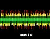 illustration  of music colorful equaliser bar in black background
