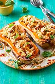Stuffed butternut squash with quinoa and mushrooms