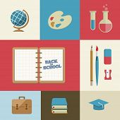 Vector Flat Education and School Supplies Icon Set.