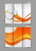 Orange tri-fold brochure