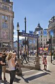 LONDON, UK - JUNE 3, 2014: regent street view with lots of people and public transport