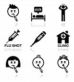 Cold, flu, sick people vector icons set