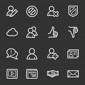 Community. Social media web icons, grey set