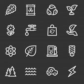 Green ecology web icon set 3, grey set