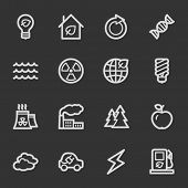 Green ecology web icon set 1, grey set