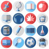 Set of education and school icons in flat style