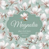 pic of magnolia  - Luxurious retro style floral greeting card  - JPG