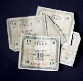 image of mussolini  - 1943 issue rare banknote bearing the picture of Allied Military currency and design on back - JPG