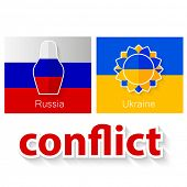 The conflict between Russia and Ukraine - symbolic illustration - flags of both countries and their