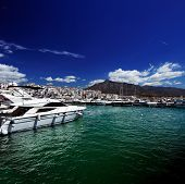 Luxury yachts and motor boats in Puerto Banus marina in Marbella, Spain