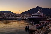 Luxury yachts and motor boats moored in Puerto Banus marina in Marbella, Spain