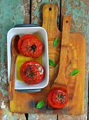 The Baked Tomatoes Stuffed With A Cod On