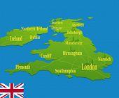 Original England Map With A National Flag