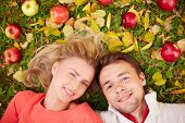 Happy young couple with ripe apples looking at camera while lying on ground