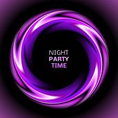 Abstract light purple swirl circle on black background