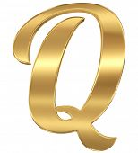 Golden shining metallic 3D symbol letter Q - isolated on white