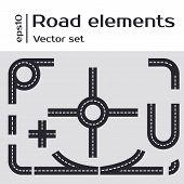 Road Illustration with a set of asphalt road.