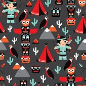 image of indian totem pole  - Seamless kids vintage style Indian arrow and totem pole illustration background pattern in vector - JPG