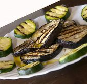 Aubergine and courgette salad