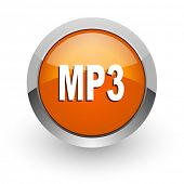 mp3 orange glossy web icon