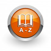 dictionary orange glossy web icon