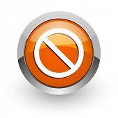 access denied orange glossy web icon