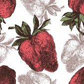 Hand drawn pattern with strawberry seamless