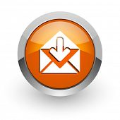 email orange glossy web icon