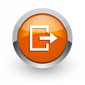 exit orange glossy web icon