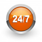 24/7 orange glossy web icon